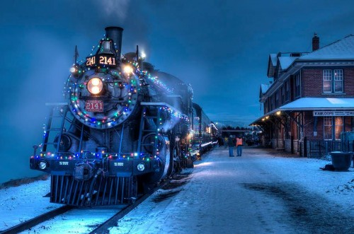 Christmas Locomotive in Kamloops, British Columbia