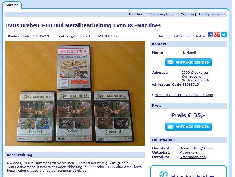DVDs Drehen I-III und Metallbearbeitung I von RC-Machines