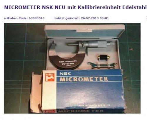MICROMETER NSK NEU
